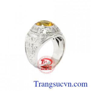 Nhẫn bạc thạch anh vàng đẹp