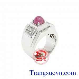 Nhẫn nam bạc Ruby đẹp