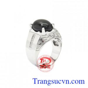 Nhẫn nam bạc Sapphire sao tinh tế