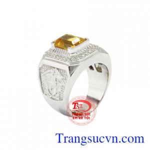 Nhẫn nam bạc thạch anh vàng đẹp