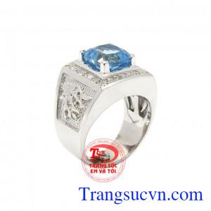 Nhẫn nam bạc Topaz thiên nhiên được chế tác tinh tế, độc đáo từ đá Topaz chất lượng cao,Nhẫn nam bạc Topaz thiên nhiên