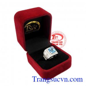 Nhẫn nam bạc Topaz thiên nhiên uy tín, chất lượng, giao hàng toàn quốc,Nhẫn nam bạc Topaz thiên nhiên