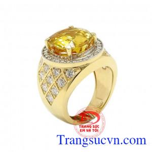 Nhẫn nam Sapphire vàng công danh