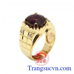 Nhẫn nam vàng Garnet đẹp
