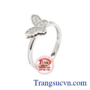 Nhẫn nữ vàng trắng hồ điệp