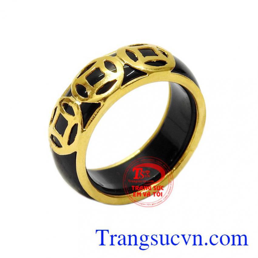 Nhẫn ngọc bọc vàng kim tiền
