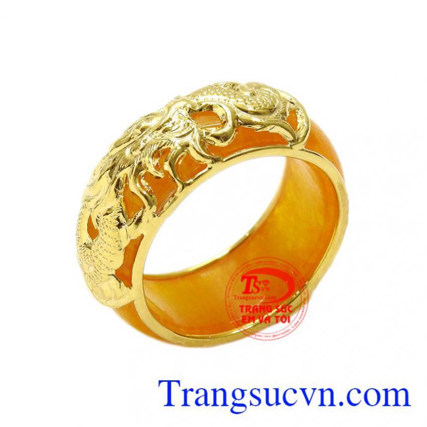 Nhẫn ngọc cẩm thạch bọc rồng đẹp