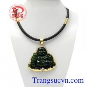 Bộ mặt dây vàng Jadeite Phật Di Lặc