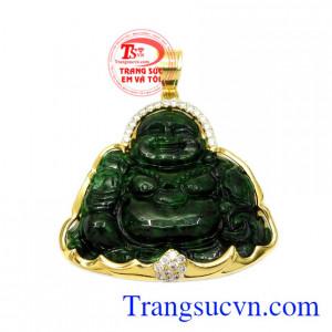 Mặt dây vàng Jadeite Phật Di Lặc