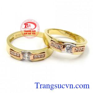 Nhẫn cưới tình yêu viên mãn vàng 18k thiết kế mới lạ, độc đáo, tinh xảo, nhập khẩu Italy