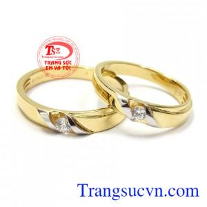 Nhẫn cưới vàng tây hạnh phúc nhập khẩu Italy vàng 18k bền đẹp, chất lượng