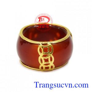 Nhẫn ngọc bọc rồng vàng công danh vàng 10k giao hàng trên toàn quốc.