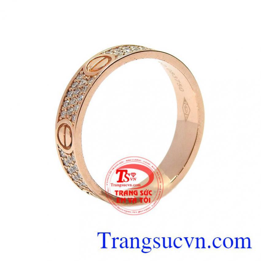 Nhẫn nam vàng hồng kim cương