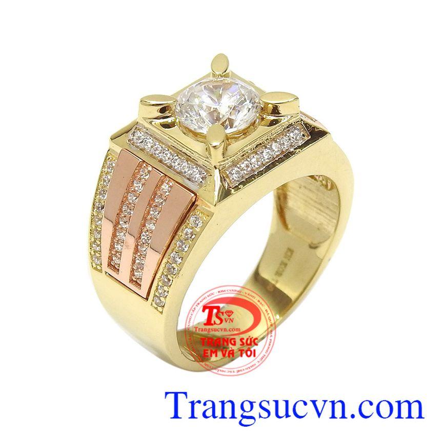 Nhẫn nam vàng tây phong độ