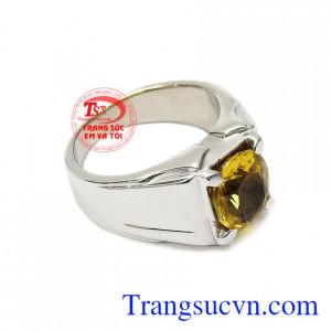 Nhẫn nam vàng trắng thạch anh vàng đẹp vàng 10k thời trang.