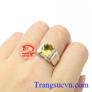 Nhẫn nam vàng trắng thạch anh vàng đẹp mệnh Thổ và Kim