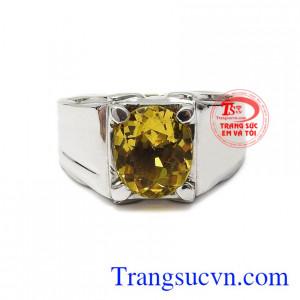 Nhẫn nam vàng trắng thạch anh vàng đẹp toát lên vẻ thành đạt, nam tính cho nam giới.