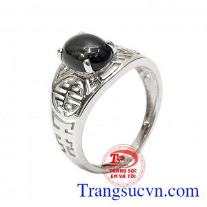 Nhẫn nữ bạc Sapphire thiên nhiên