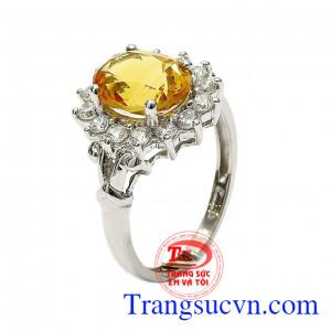 Nhẫn nữ bạc thạch anh vàng an khang