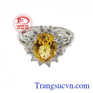 Nhẫn nữ bạc thạch anh vàng an khang mang lại vẻ đẹp tỏa sáng, nổi bật cho chủ nhân,Nhẫn nữ bạc thạch anh vàng an khang