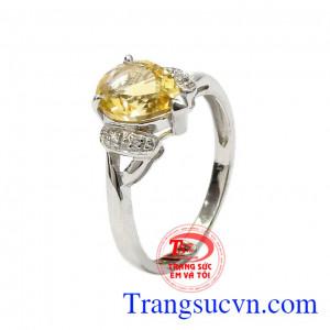 Nhẫn nữ bạc thạch anh vàng cao cấp