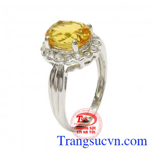 Nhẫn nữ bạc thạch anh vàng nữ tính