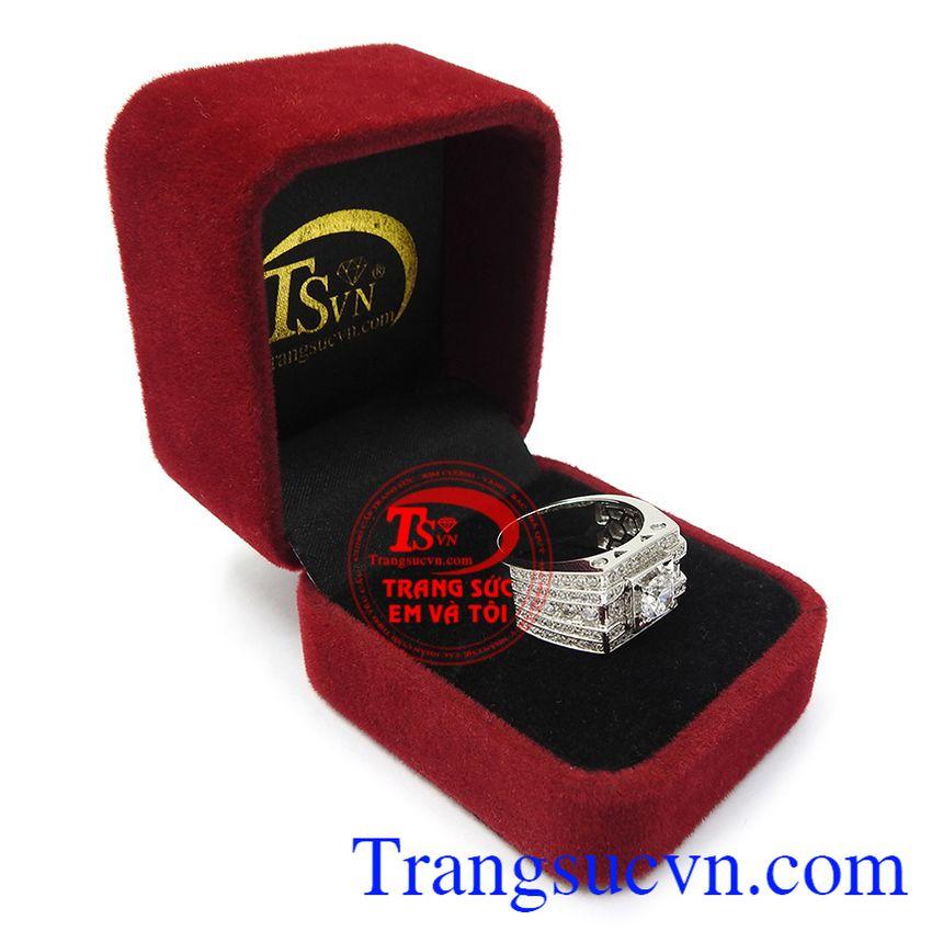 Nhẫn nam vàng trắng an khang