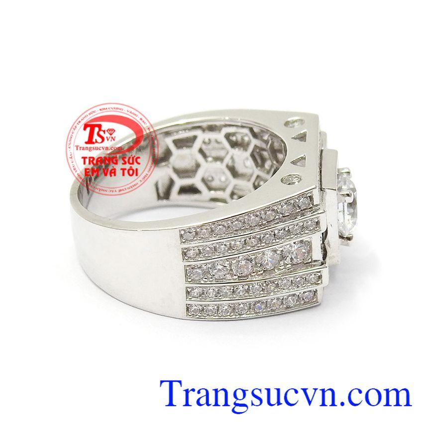 Nhẫn nam vàng 10k nhập khẩu Korea phù hợp cho các quý ông lịch lãm, đẳng cấp và mạnh mẽ Nhẫn nam vàng trắng an khang