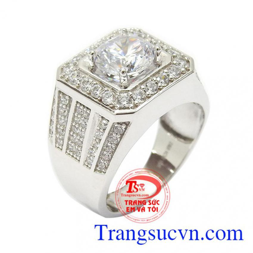 Nhẫn nam vàng trắng tài lộc
