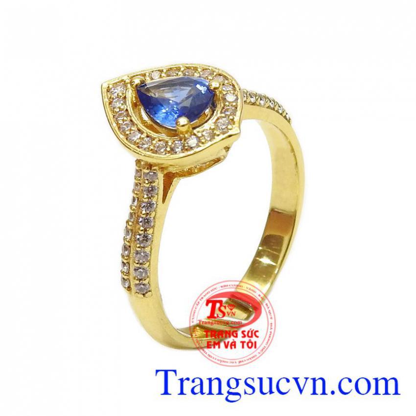Nhẫn nữ vàng Sapphire giọt nước