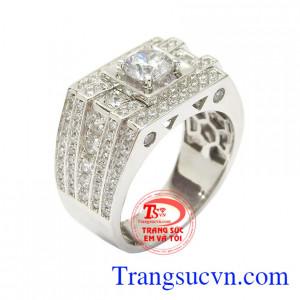 Nhẫn nam vàng trắng an khang gắn đá đẹp, thời trang, tạo nên phong cách riêng cho người đeo
