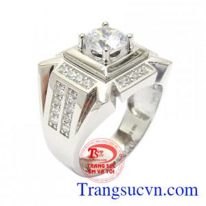 Nhẫn nam vàng trắng danh vọng vàng 10k nhập khẩu Korea kiểu dáng đẹp, chất lượng vàng đảm bảo