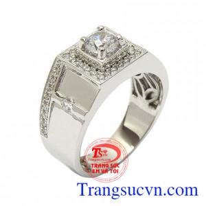 Nhẫn nam vàng trắng quyền uy vàng 10k nhập khẩu nguyên chiếc Korea tạo nên xu thế thời trang mới cho phái mạnh