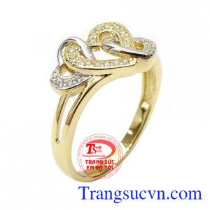 Nhẫn nữ vàng dịu dàng 10k nhập khẩu Korea với thiết kế hình trái tim lồng nhau biểu tượng cho tình yêu và hạnh phúc