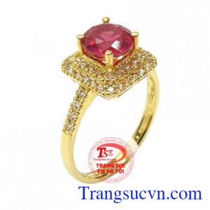 Nhẫn nữ vàng ruby may mắn