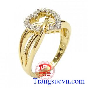 Nhẫn nữ vàng tình yêu viên mãn 10k nhập khẩu Korea thiết kế tinh tế, độc đáo