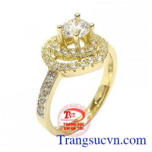 Nhẫn nữ vàng trái tim quý phái 10k nhập khẩu nguyên chiếc Hàn Quốc thiết kế hình trái tim kết đá tinh tế, thời trang