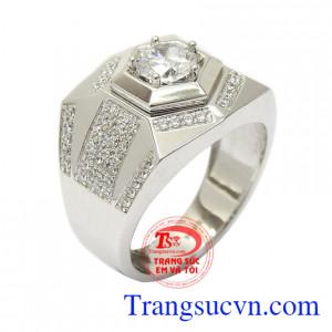 Nhẫn vàng trắng nam quyền lực vàng 10k nhập khẩu Korea đính đá CZ cao cấp, tinh xảo