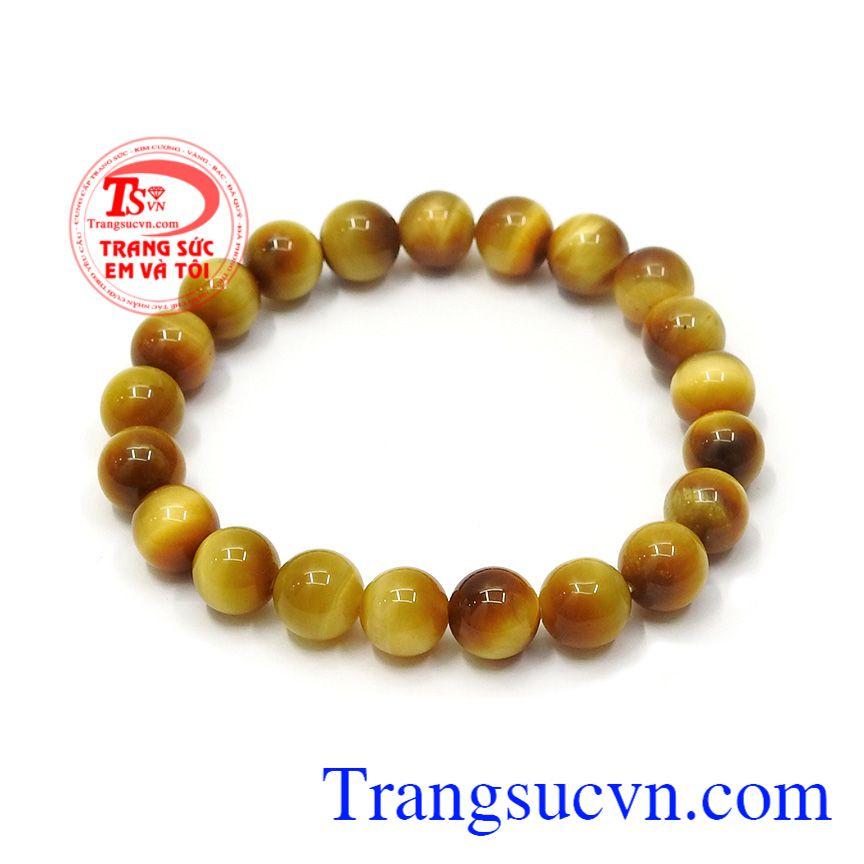 Vòng đá mắt hổ màu vàng tươi là biến thể hiếm gặp nhất trong tự nhiên, nằm lẫn với biến thể màu nâu vàng, với màu sắc đẹp, lấp lánh sang trọng,Chuỗi tay đá mắt hổ 8 ly