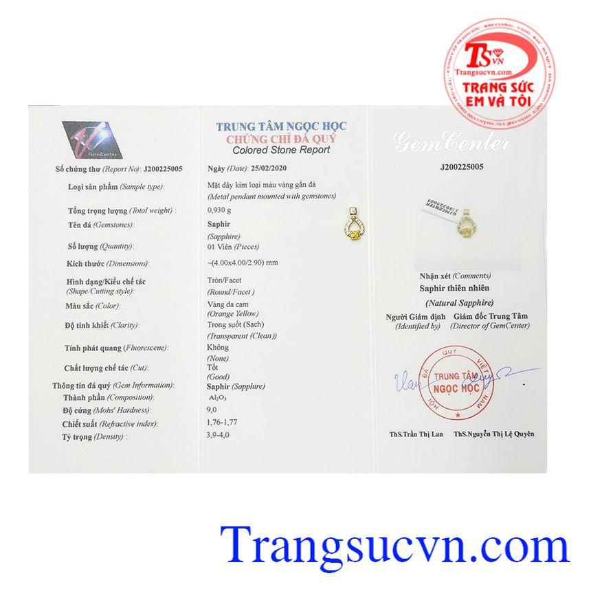 Mặt dây saphir vàng độc đáo được bảo hành uy tín, giao hàng toàn quốc.