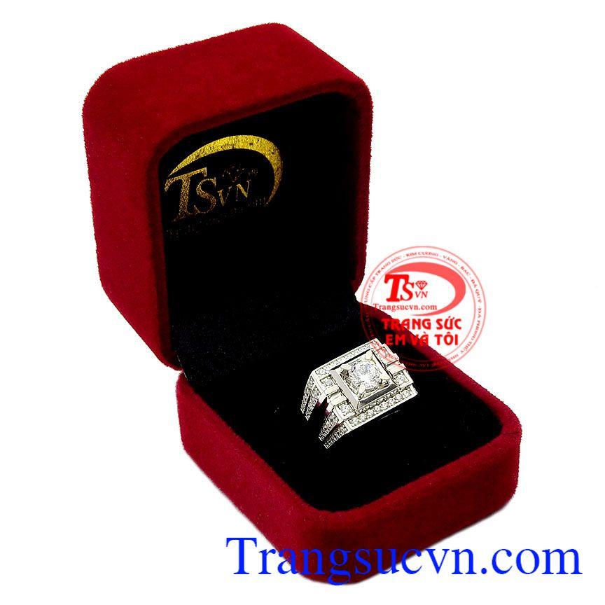 Nhẫn nam vàng trắng quý ông