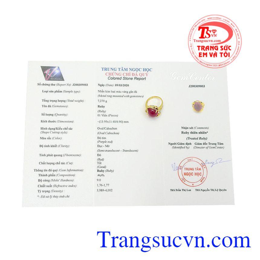 Nhẫn nữ ruby rực rỡ có giấy kiểm định đá quý, giao hàng toàn quốc.