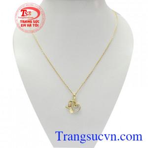 Bộ dây chuyền nữ quyến rũ vàng tây 10k đeo sang trọng, thời trang và quý phái