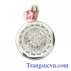 Mặt dây chuyền bạc mạnh mẽ mạ vàng trắng nhập khẩu nguyên chiếc từ Italy