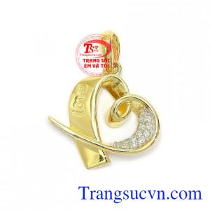 Mặt dây chuyền vàng dịu dàng vàng 10k nhập khẩu Hàn Quốc kiểu dáng thời trang, độc đáo