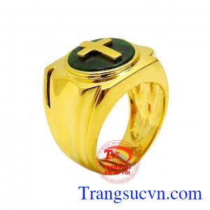 Nhẫn nam vàng Jadeite thánh giá