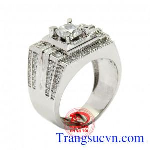 Nhẫn nam vàng trắng quý ông nhập khẩu nguyên chiếc từ Hàn Quốc, kiểu dáng đẹp, chất lượng cao,Nhẫn nam vàng trắng quý ông