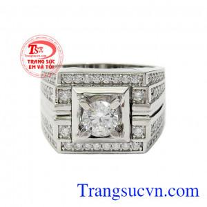 Nhẫn nam vàng trắng quý ông mang lại sự lịch lãm, sang trọng và đẳng cấp cho phái mạnh,Nhẫn nam vàng trắng quý ông