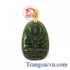 Phật bản mệnh nephrite Sửu Dần gắn móc vàng 18k bền đẹp, chất lượng