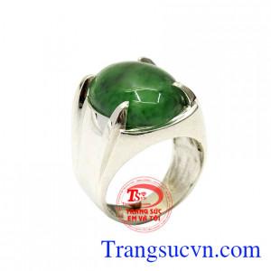 Nhẫn bạc nam cẩm thạch thời trang